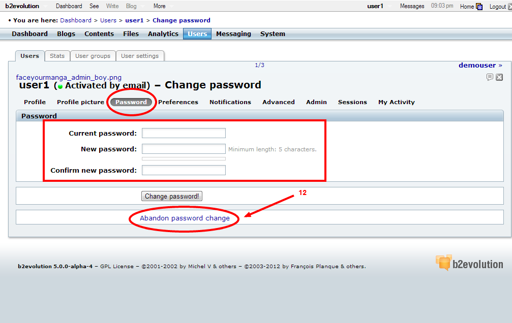 how to change live password