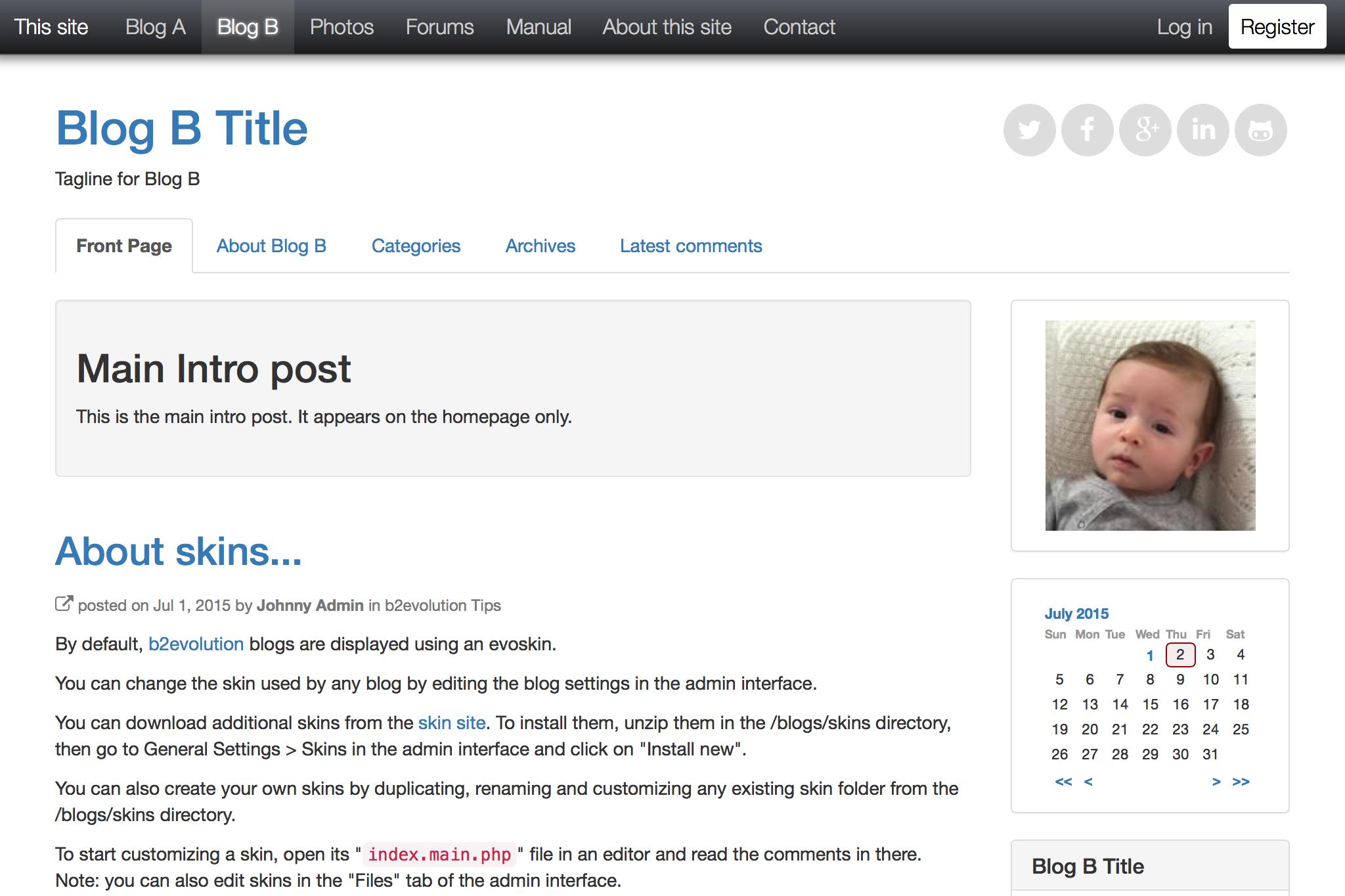 b2evolution blog/social CMS - A complete engine for your website!