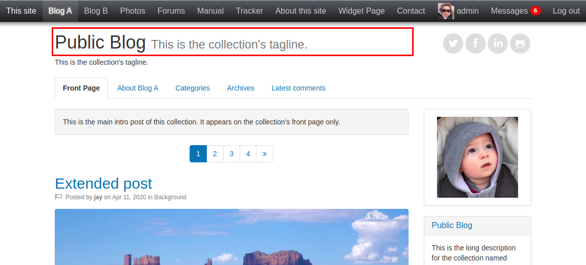 Collection Title widget