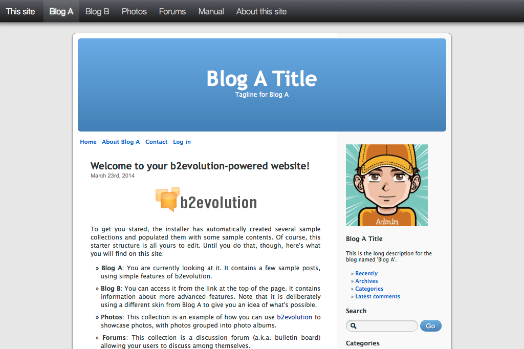b2evolution blog/social CMS - A complete engine for your