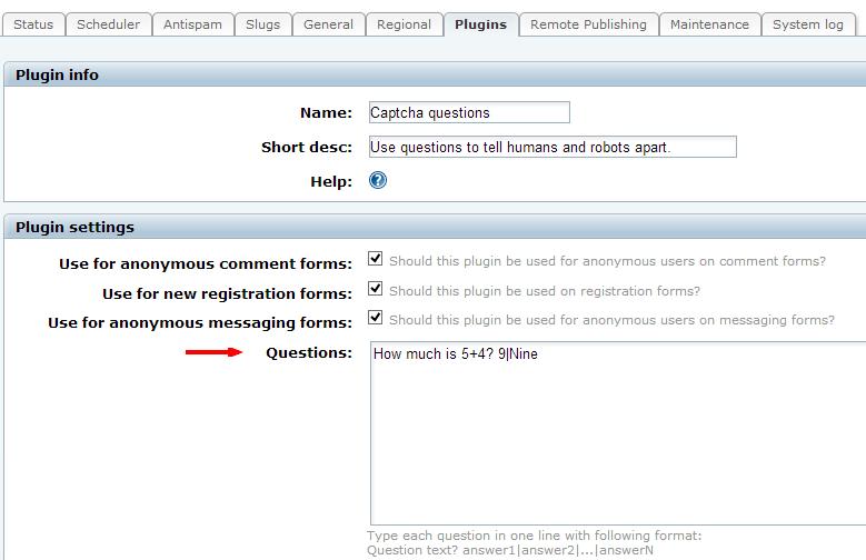 Captcha Questions Plugin