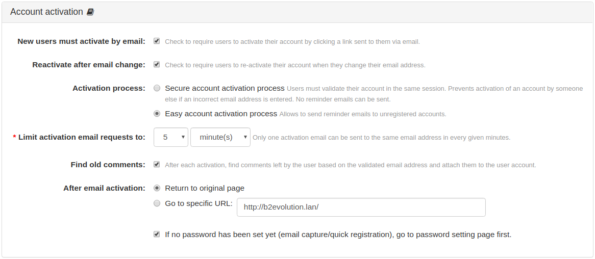 Account Activation Panel