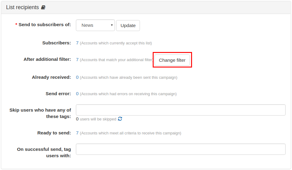 List action: Add users to Email Campaign
