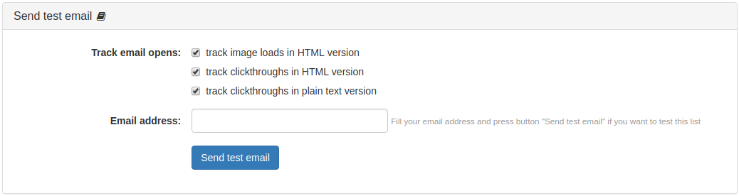 Campaign Send Test Email Panel