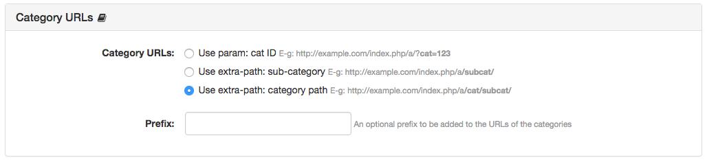Category URLs Panel
