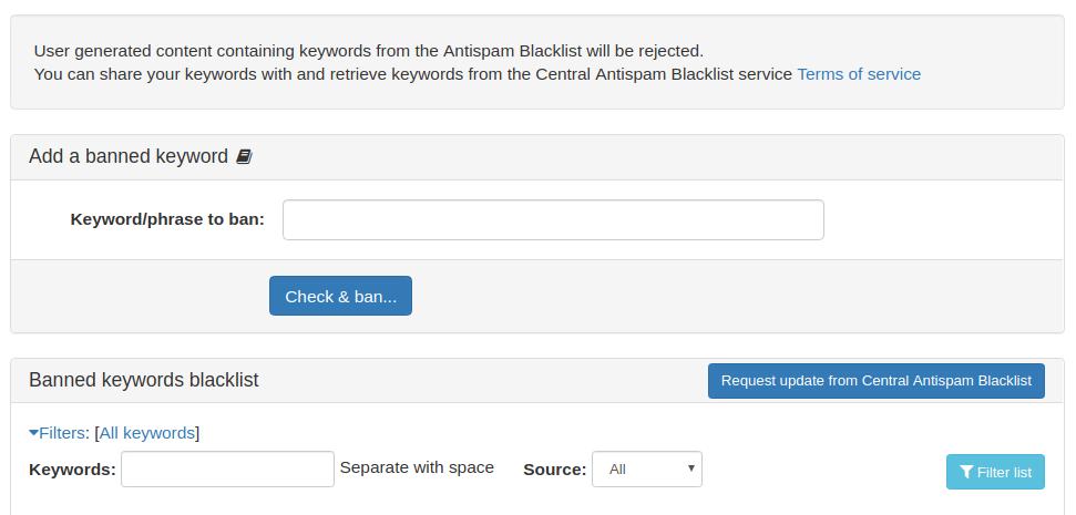 Central Antispam Blacklist