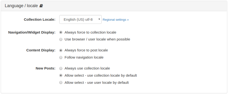 Collection Language / Locale Panel