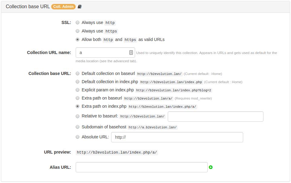 Collection Base URL Panel