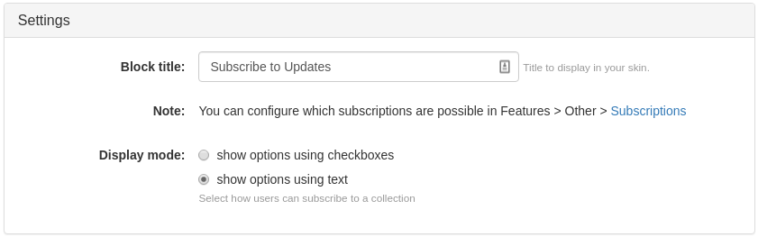 Subscribe to Collection Updates Widget