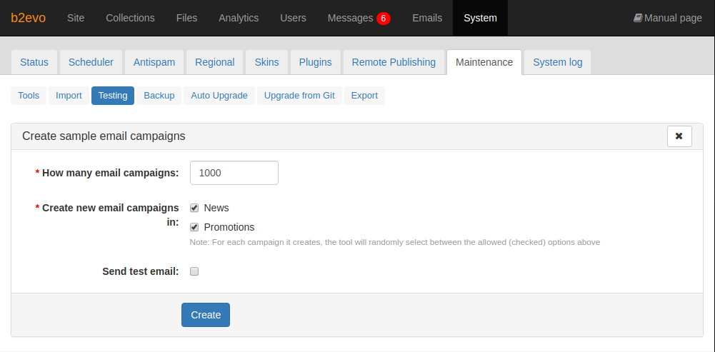 Create Sample Email Campaigns Tool