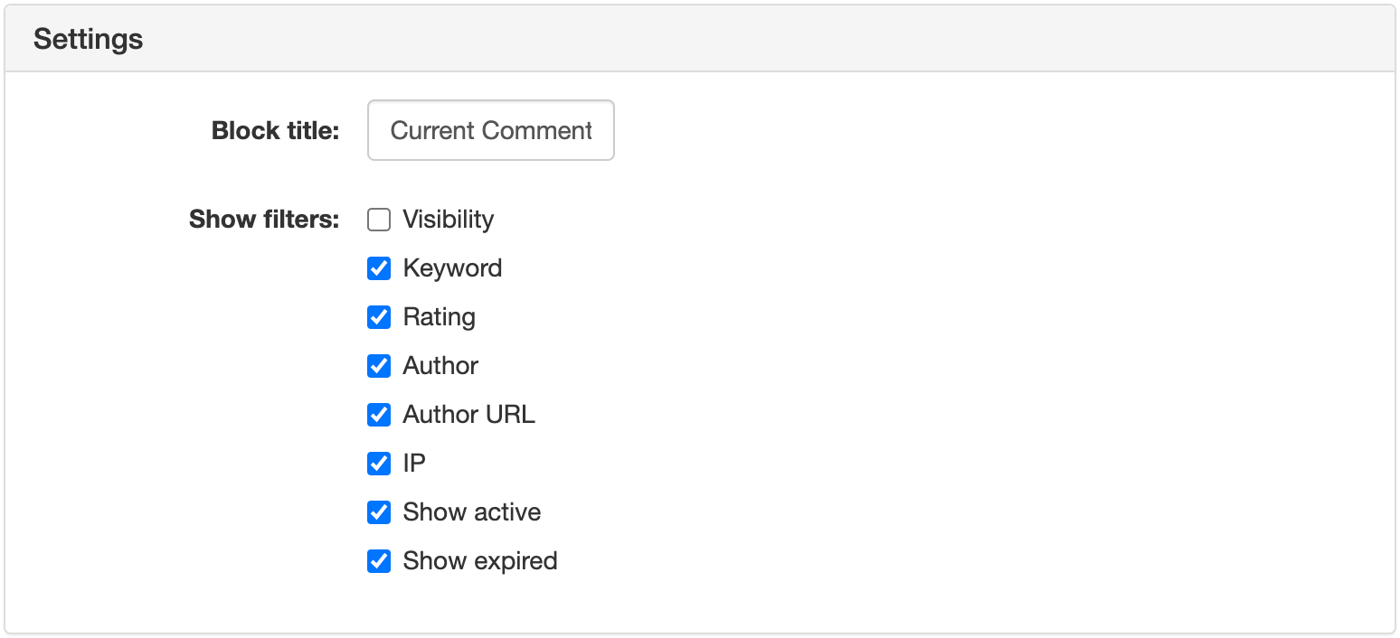 Current Comment Filters Widget