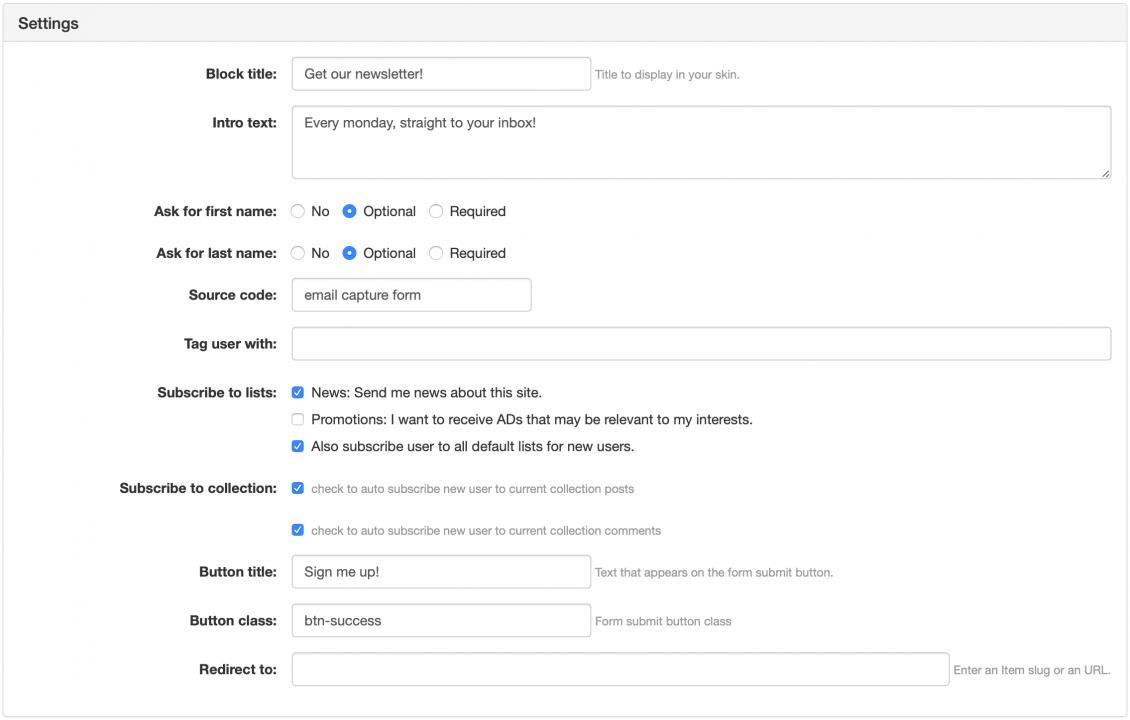 Email capture / Quick registration Widget