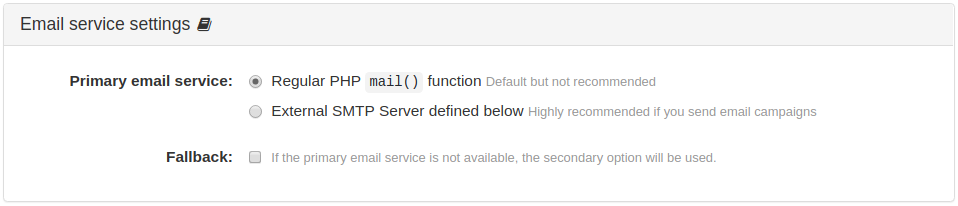 Email Service Settings