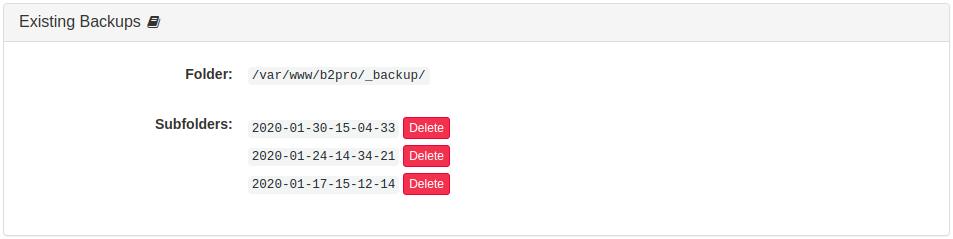 Existing Backups Panel