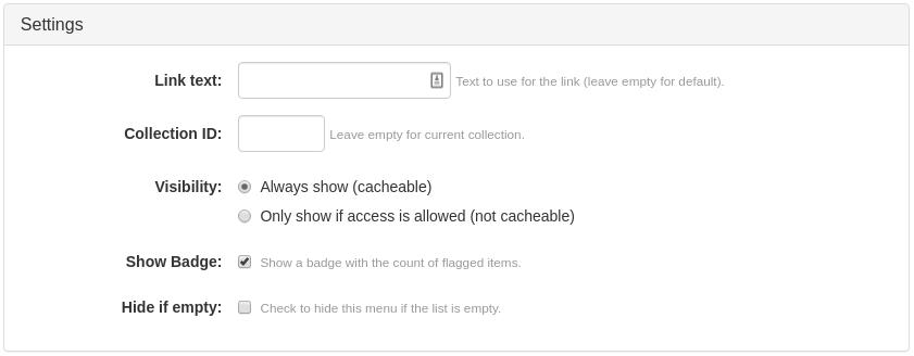 Flagged Items Menu Link or Button Widget