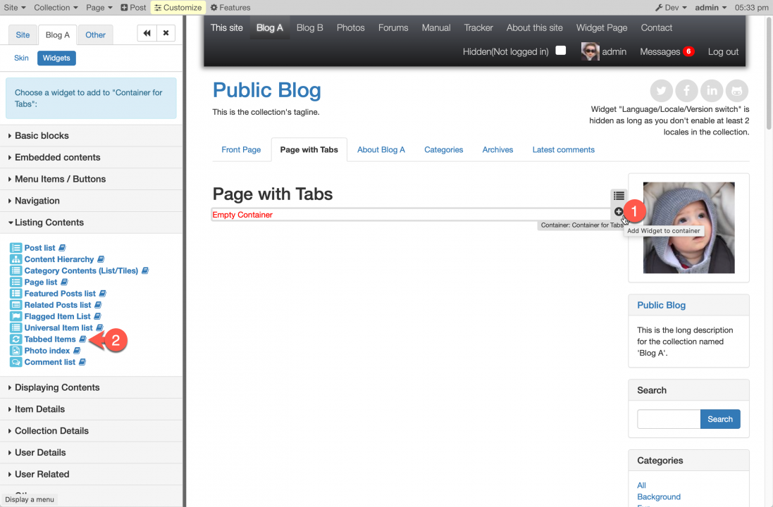 How to Display content as Tabs on a page