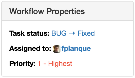 Item Workflow Properties Widget