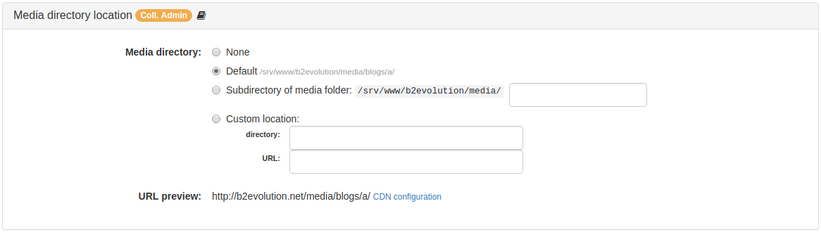 Media Directory Location Panel