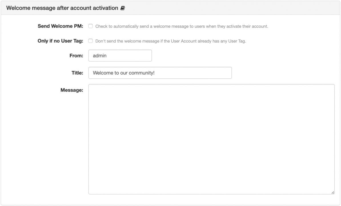 Welcome message after account activation