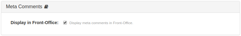 Meta Comments Features Panel for Front-Office