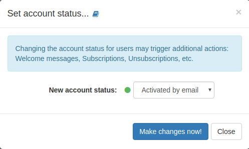 List action: Set account status