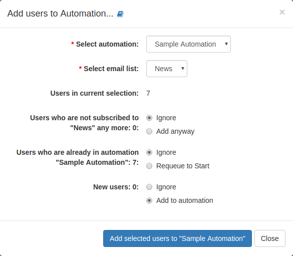List action: Add users to automation