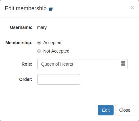 Organization: Edit user membership