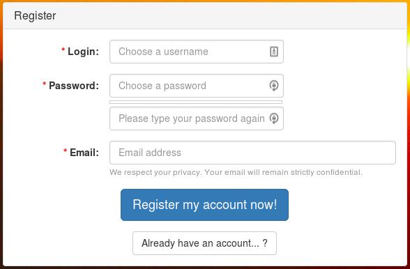Registration Form Widget