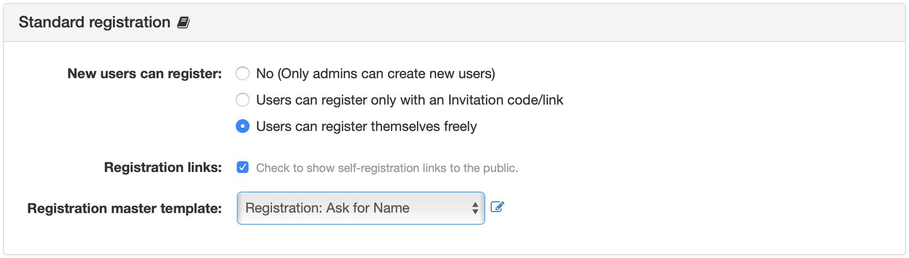 Standard Registration Panel