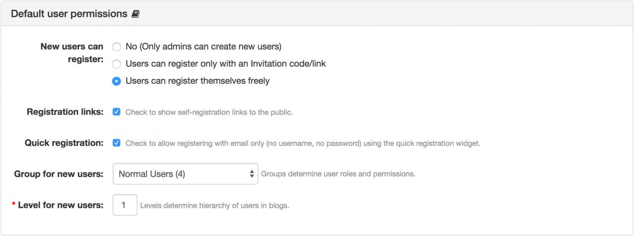 Registration Permissions Panel