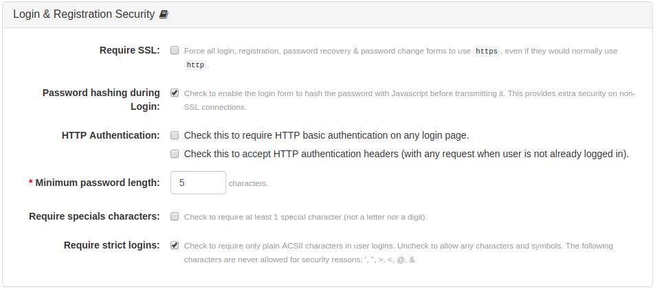 Login & Registration Security Panel
