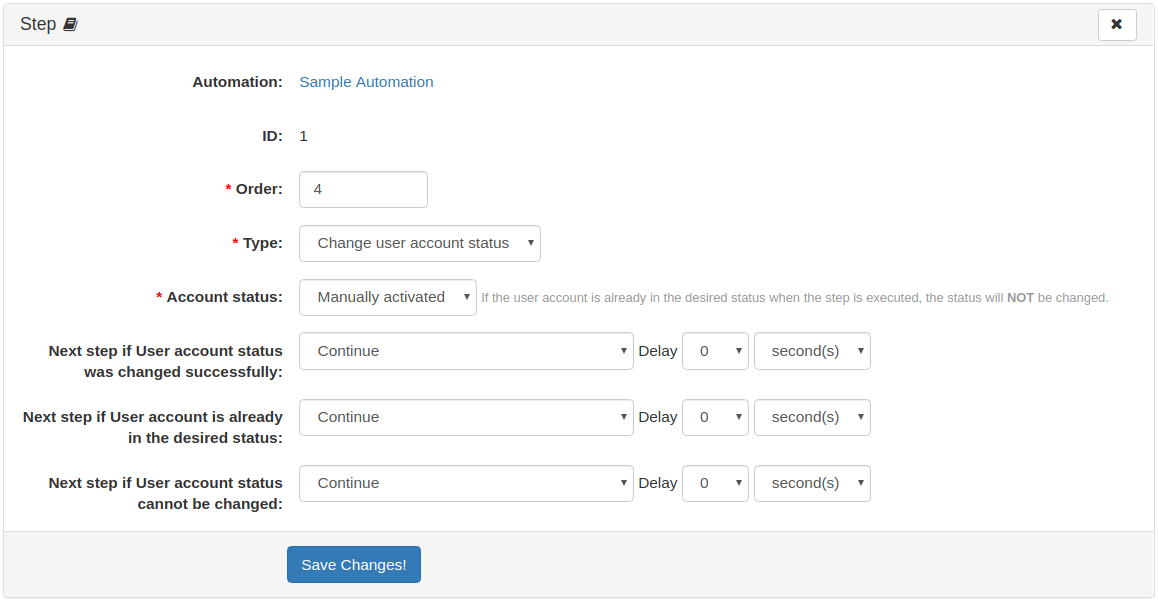 Automation Step: Change User Account Status