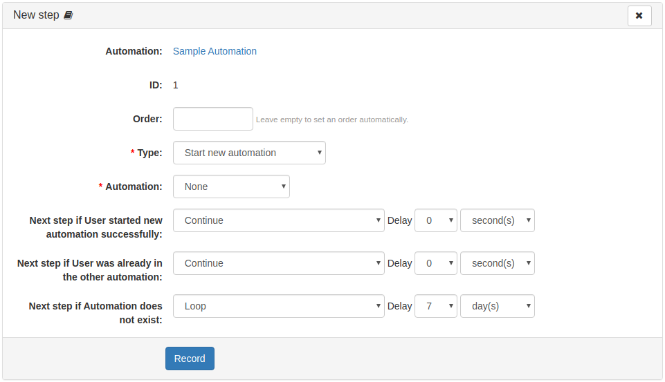 """Step action """"Start new automation"""""""