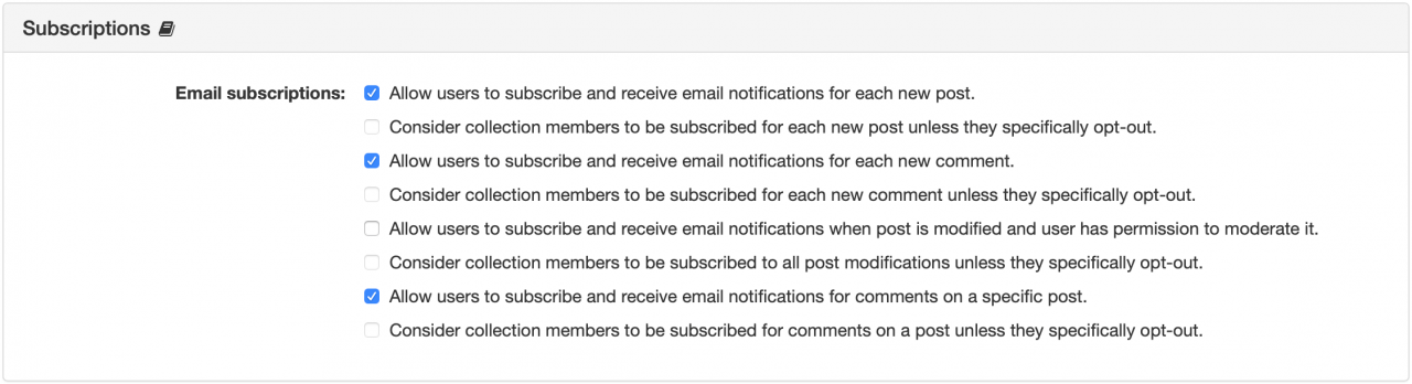 Subscriptions Panel