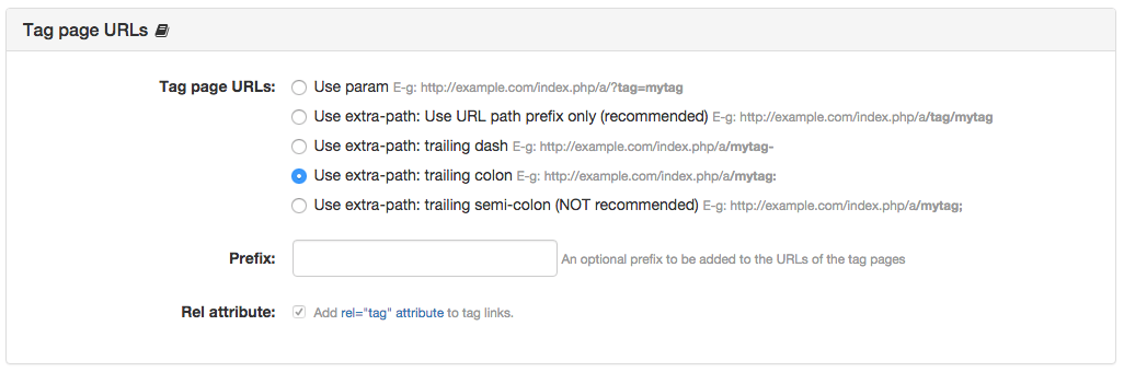 Tag Page URLs Panel