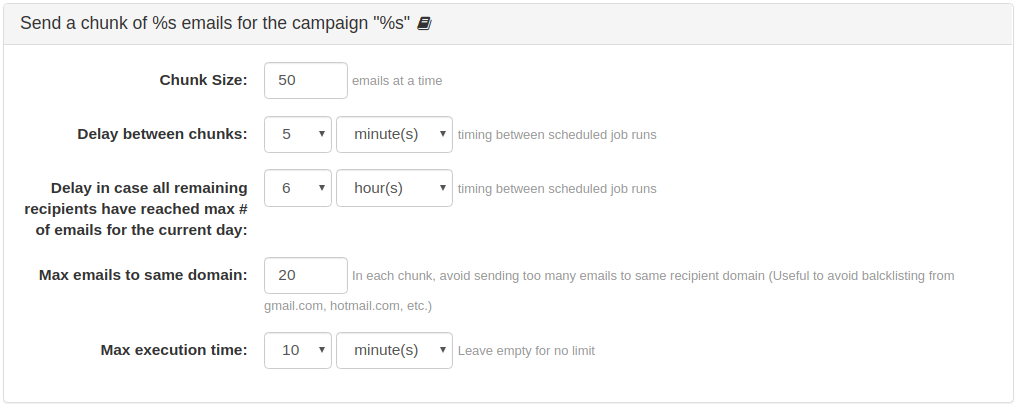 "Send a chunk of emails for the campaign ""email campaign name"""
