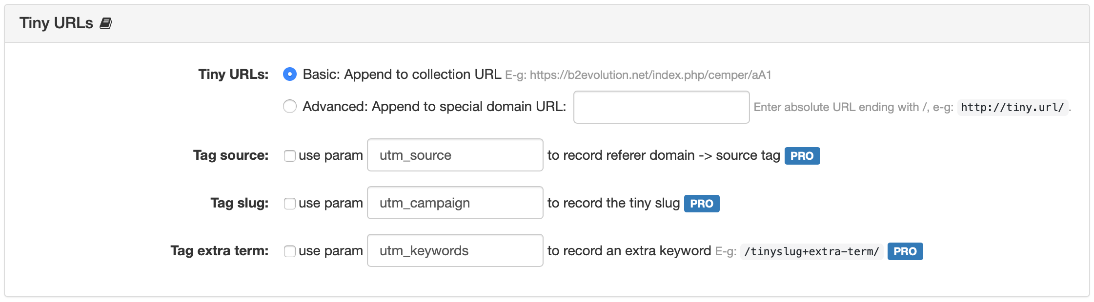 Collection Tiny URLs Settings