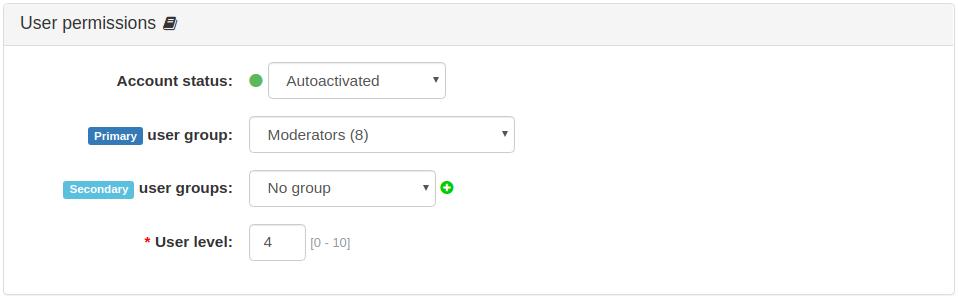 User Permissions Panel