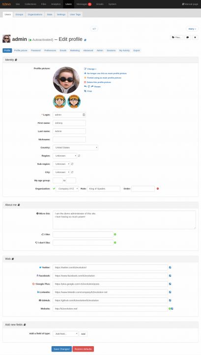 User Profile Tab