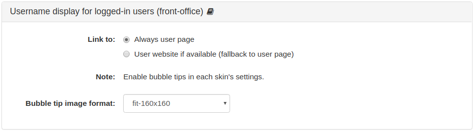 Username display for logged-in users (front-office)