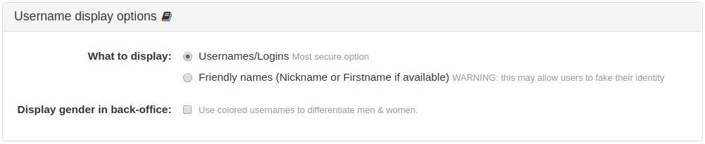 Username display options