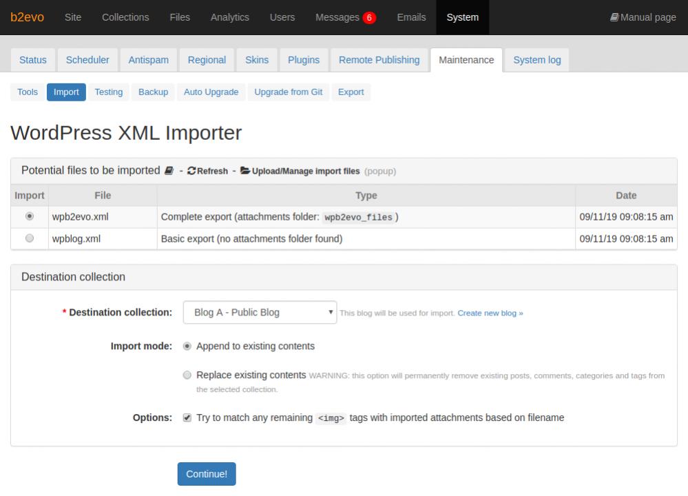 WordPress XML Importer