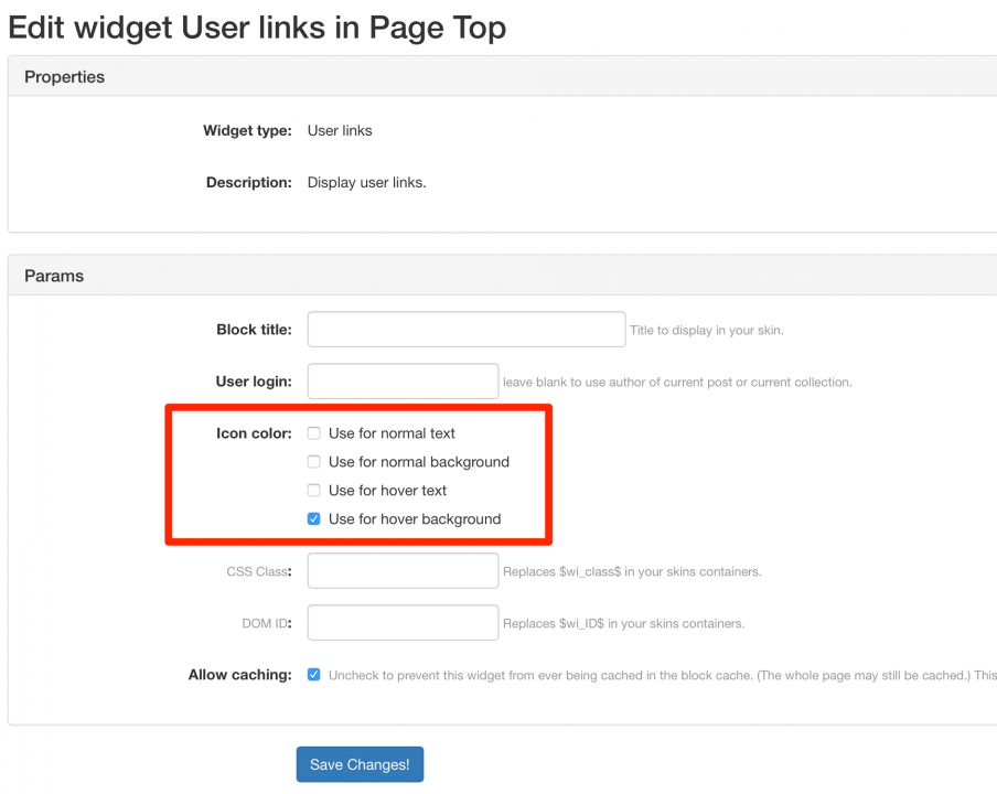User Links Widget
